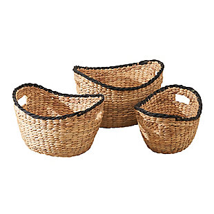 Eliana 3-Piece Assorted Basket Set with Black Rim and Handles, , large