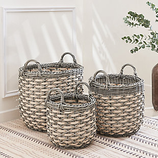 Valeria 3-Piece Assorted Round Stackable Resin Basket Set with Handles, , rollover