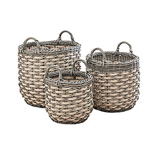 Valeria 3-Piece Assorted Round Stackable Resin Basket Set with Handles, , large