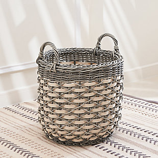 Valeria 18-Inch Round Resin Basket with Handles (Size Large), , large