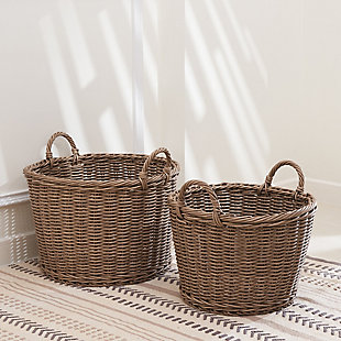 Mila Assorted Stackable Resin Baskets(Set of 2), , rollover