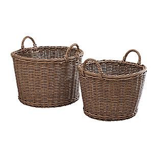 Mila Assorted Stackable Resin Baskets(Set of 2), , large