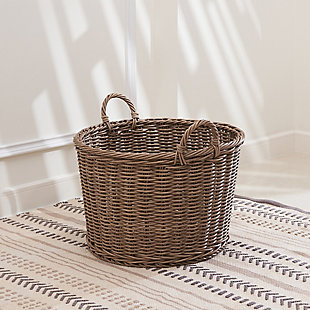 Mila 19-Inch Round Resin Basket with Handles (Size Large), , rollover