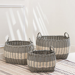 Hannah Assorted Stackable Basket Set with Handles (set of 3), , rollover