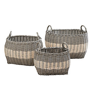 Hannah Assorted Stackable Basket Set with Handles (set of 3), , large