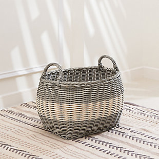 Hannah 13-Inch Oval Resin Basket Set with Handles (Set of 2), , large
