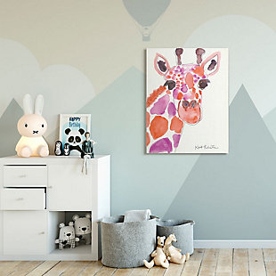 Kids Giraffe Red Purple Watercolor Canvas Wall Art by Kait Roberts, 36 x 48, , rollover