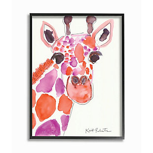 Kids Giraffe Red Purple Watercolor Black Framed Giclee Texturized Art by Kait Roberts, 16 x 20, , large