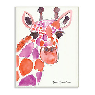 Kids Giraffe Red Purple Watercolor Wall Plaque Art by Kait Roberts, 13 x 19, , large