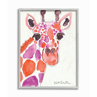 Kids Giraffe Red Purple Watercolor Gray Framed Giclee Texturized Art by Kait Roberts, 16 x 20, , large
