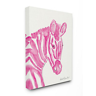 Kids Zebra Pink Watercolor Stretched Canvas Wall Art by Kait Roberts, 16 x 20, , large