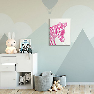 Kids Zebra Pink Watercolor Oversized Stretched Canvas Wall Art by Kait Roberts, 24 x 30, , rollover