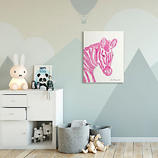 Kids Zebra Pink Watercolor XXL Stretched Canvas Wall Art by Kait Roberts, 30 x 40, , rollover