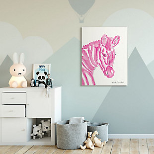 Kids Zebra Pink Watercolor Oversized Stretched Canvas Wall Art by Kait Roberts, 36 x 48, , rollover