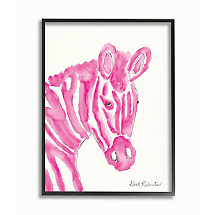 Kids Zebra Pink Watercolor Black Framed Giclee Texturized Art by Kait Roberts, 11 x 14, , large