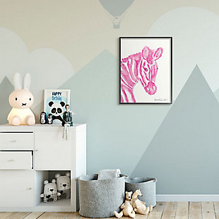 Kids Zebra Pink Watercolor XXL Black Framed Giclee Texturized Art by Kait Roberts, 24 x 30, , rollover