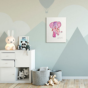 Kids Pink and Red Elephant Watercolor Stretched Canvas Wall Art by Kait Roberts, 24 x 30, , rollover