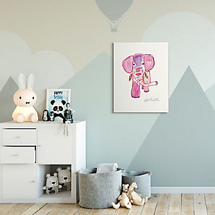 Kids Pink and Red Elephant Watercolor Stretched Canvas Wall Art by Kait Roberts, 30 x 40, , rollover
