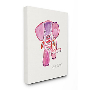 Kids Pink and Red Elephant Watercolor Stretched Canvas Wall Art by Kait Roberts, 36 x 48, , large