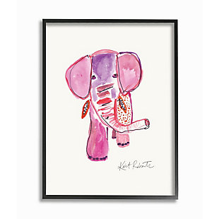 Kids Pink and Red Elephant Watercolor Black Framed Giclee Texturized Art by Kait Roberts, 11 x 14, , large