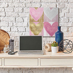 Kids Pink and Gold Glam Heart Canvas Wall Art by Lindsay Rodgers, 30 x 30, , rollover