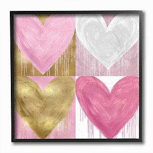 Kids Pink and Gold Glam Heart Black Framed Giclee Texturized Art by Lindsay Rodgers, 12 x 12, , large