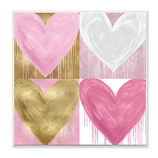 Kids Pink and Gold Glam Heart Wall Plaque Art by Lindsay Rodgers, 12 x 12, , large