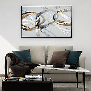"""Looping Rings Hand Painted 58""""x36"""" Canvas, , rollover"""