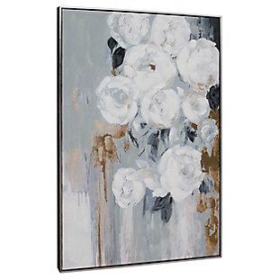 "Blanc Fleur Hand Painted 33""x49"" Canvas, , large"