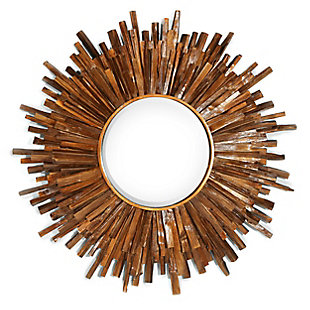 "Juniper Round Antique Bronze Wood 36""x36"" Wall Mirror, , rollover"