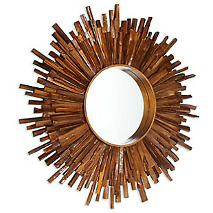 "Juniper Round Antique Bronze Wood 36""x36"" Wall Mirror, , large"