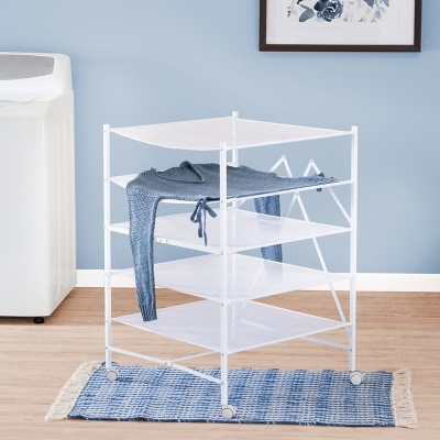 Honey-Can-Do 5-Tier Collapsible Rolling Clothes Drying Rack, , large