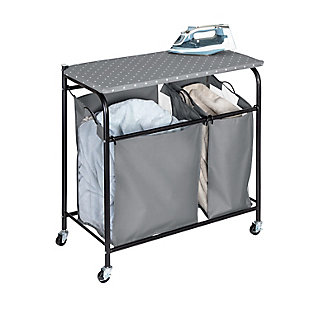 Honey-Can-Do Uneven Double Sorter On Wheels With Ironing Board Top, , large
