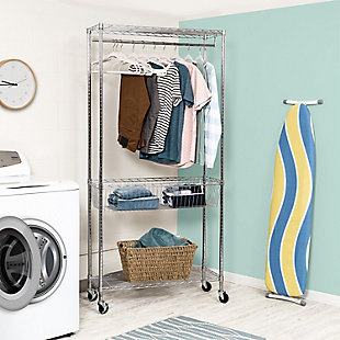 Honey-Can-Do Chrome Rolling Laundry Station, , rollover