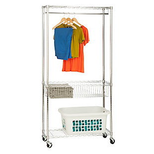 Honey-Can-Do Chrome Rolling Laundry Station, , large