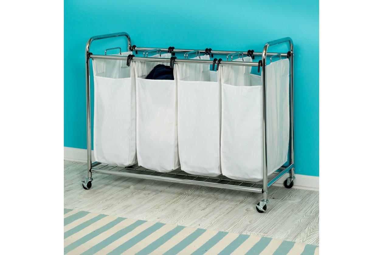 Honey Can Do Deluxe Quad Sorter on wheels 4 Bin  Laundry Bags quadruple New