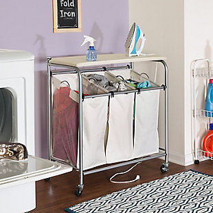 Honey-Can-Do Triple Laundry Sorter with Ironing Board, , rollover