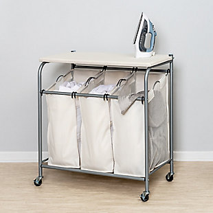 Honey-Can-Do Triple Laundry Sorter with Ironing Board, , large