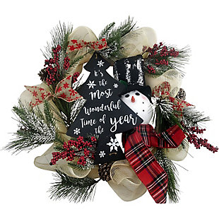 Fraser Hill 20-In. Ribbon Wreath with Snowman, Pinecones, and Berries, , large