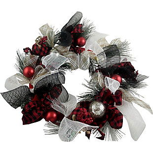 Fraser Hill 20-In. Ribbon Wreath with Ornaments and Buffalo Plaid Bows, , large