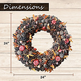 Fraser Hill 24-In. Pine Cone Wreath with Pumpkins, , rollover