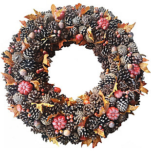 Fraser Hill 24-In. Pine Cone Wreath with Pumpkins, , large
