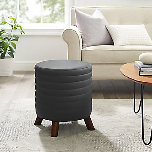 Roone Gray Round Faux Leather Stool, Black, rollover