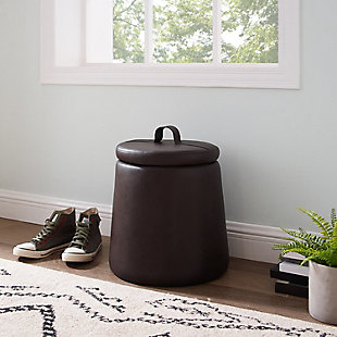 Kit Brown Storage Faux Leather Ottoman, Brown, rollover