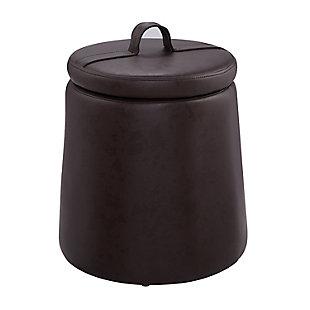 Kit Brown Storage Faux Leather Ottoman, Brown, large