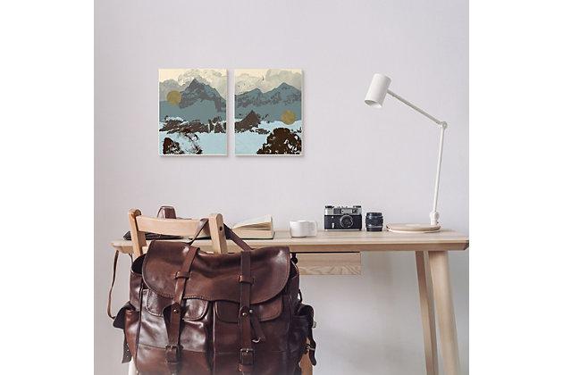 Mountain Range Textures 2-piece Canvas Wall Art 24x30, Blue/Gray, large
