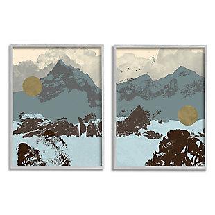 Mountain Range Textures 2-Piece Canvas Wall Art 16x20, Blue/Gray, large