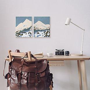 Snowy Mountain Landscape 2-piece Canvas Wall Art 24x30, Blue/Gray, rollover