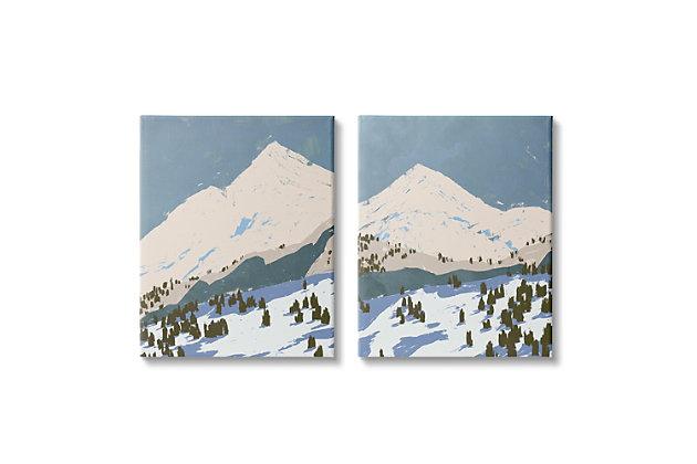 Snowy Mountain Landscape 2-piece Canvas Wall Art 24x30, Blue/Gray, large