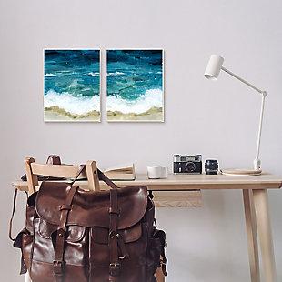 Tide Crash To Shore Watercolor 2-piece Canvas Wall Art 24x30, Blue, rollover
